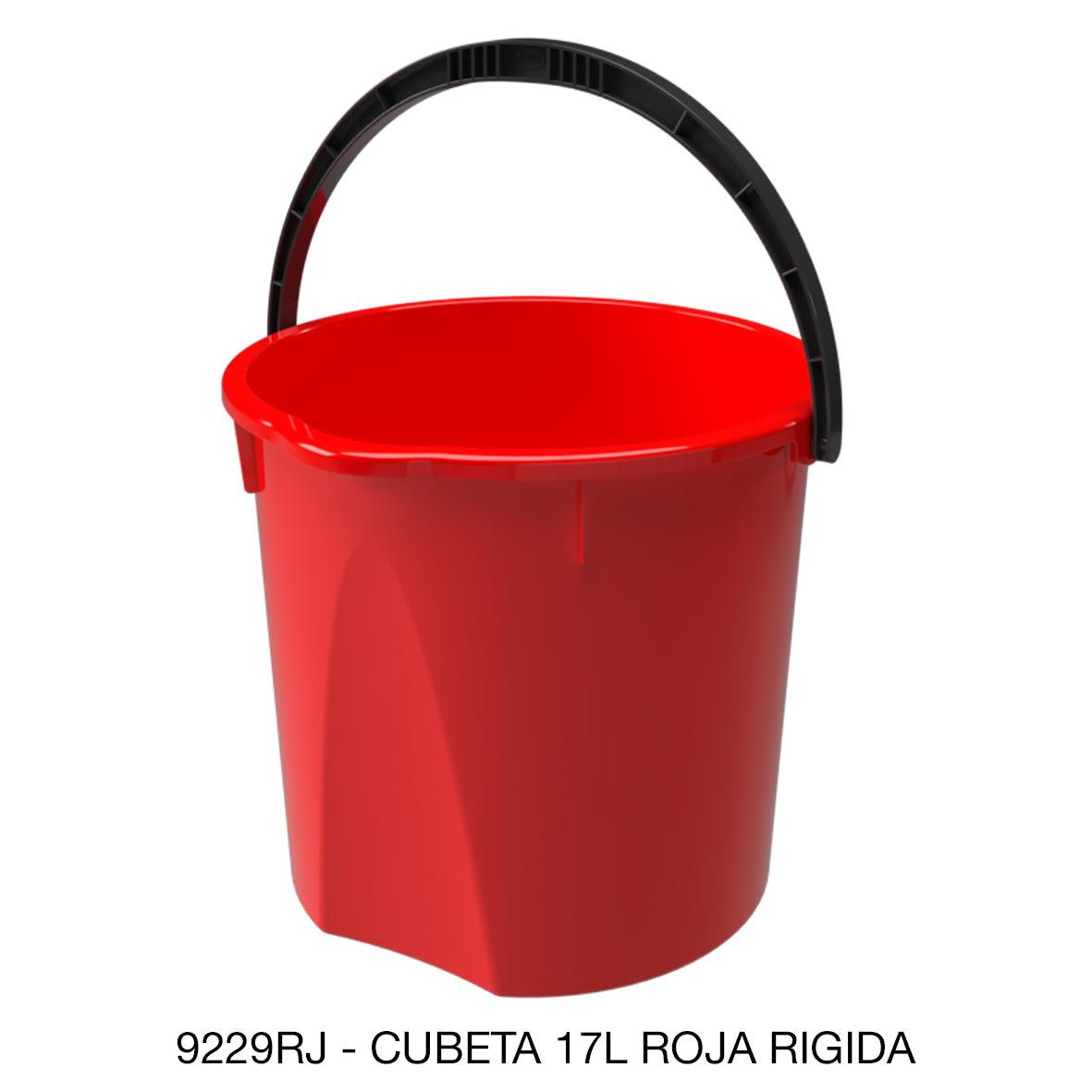 Cubeta resistente de 17 litros rígida color rojo modelo 9229RJ de Sablón