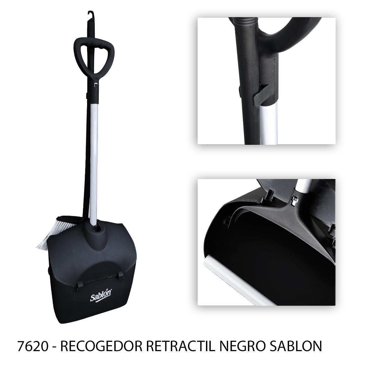 Recogedor de basura retractil negro modelo 7620 - Sablón