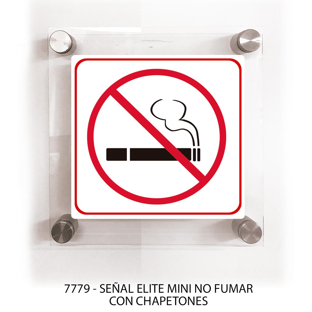 Señal no fumar con chapetones línea elite mini modelo 7779 Sablón