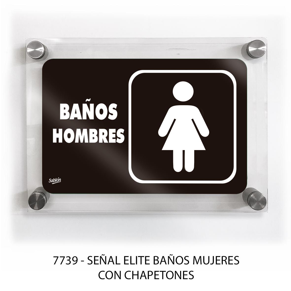 Señal para baño mujeres con chapetones línea elite modelo 7739 Sablón