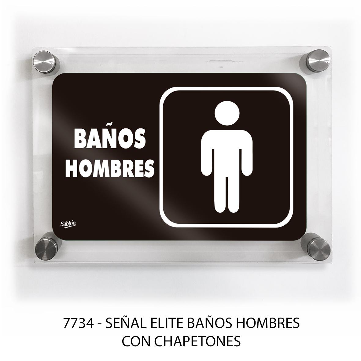 Señal para baños hombres con chapetones línea elite modelo 7734 Sablón