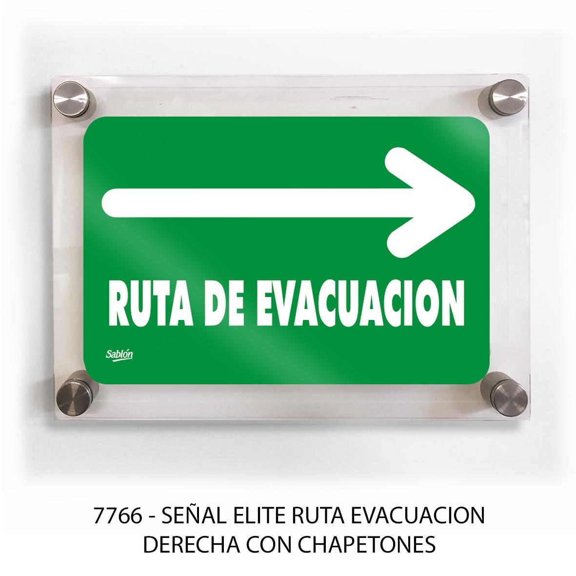 Señal ruta de evacuación derecha con chapetones línea elite modelo 7766 Sablón
