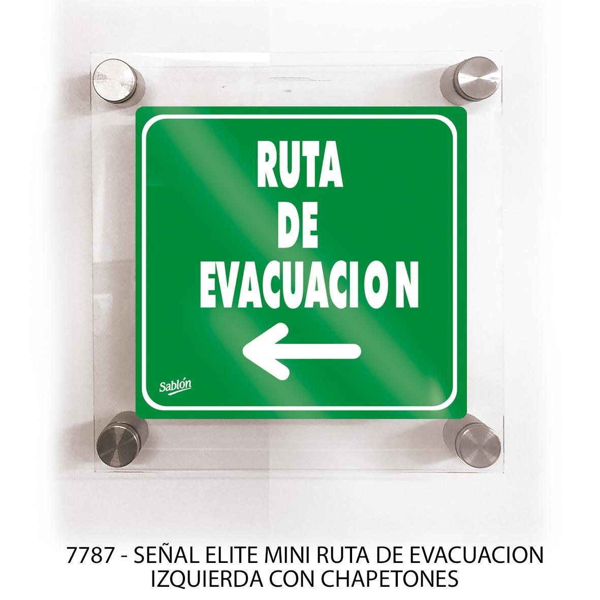 Señal ruta de evacuación izquierda con chapetones línea elite mini modelo 7787 Sablón