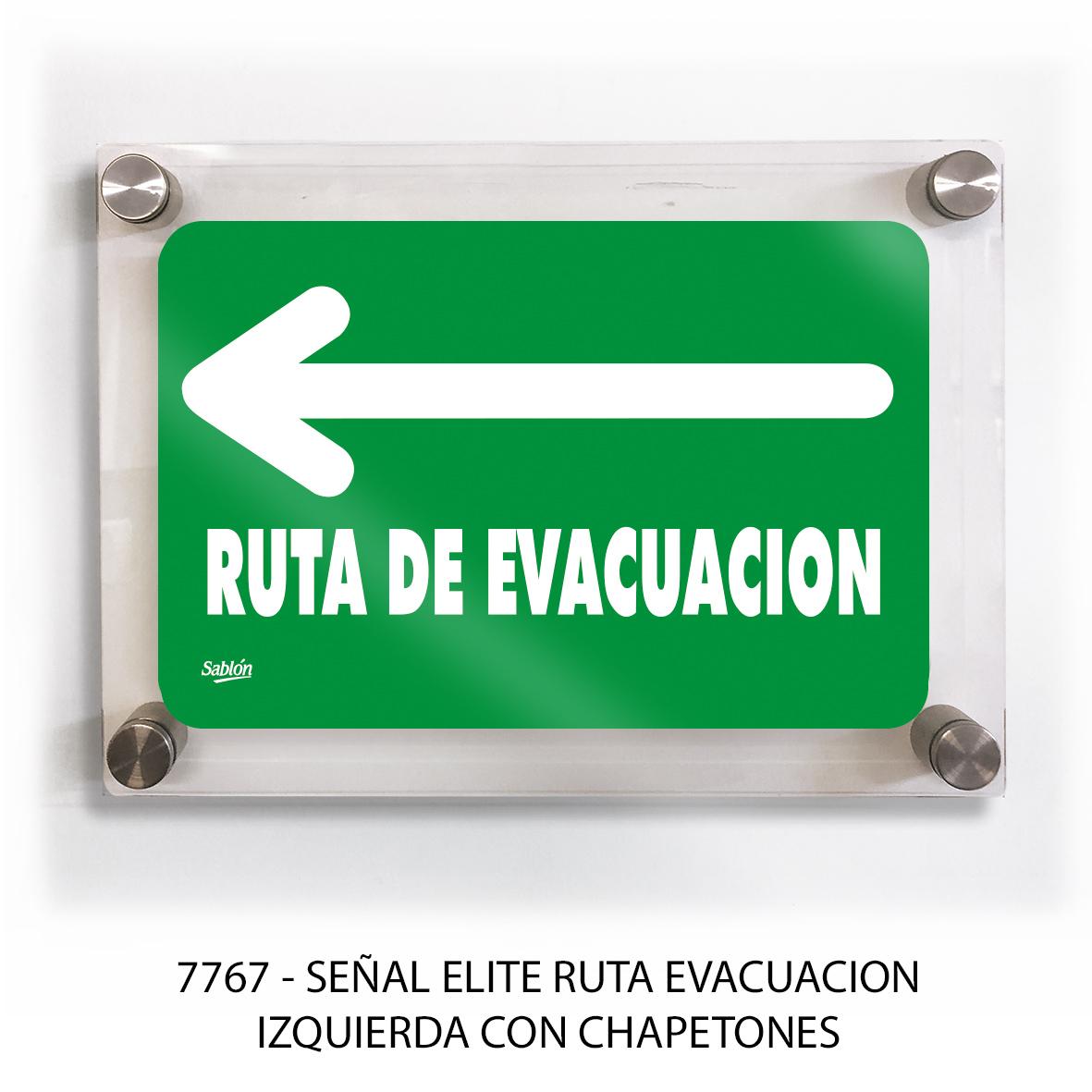 Señal ruta de evacuación izquierda con chapetones línea elite modelo 7767 Sablón