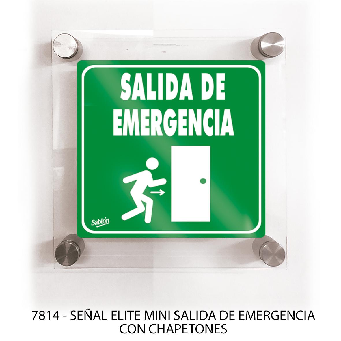 Señal salida de emergencia con chapetones línea elite mini modelo 7814 Sablón