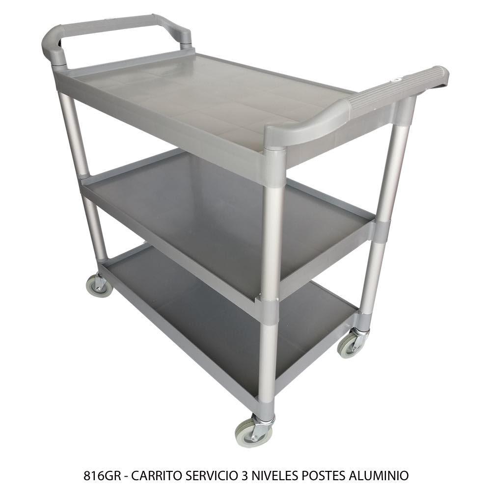 Carrito de servicio de 3 niveles con postes de aluminio 816GR Sablón