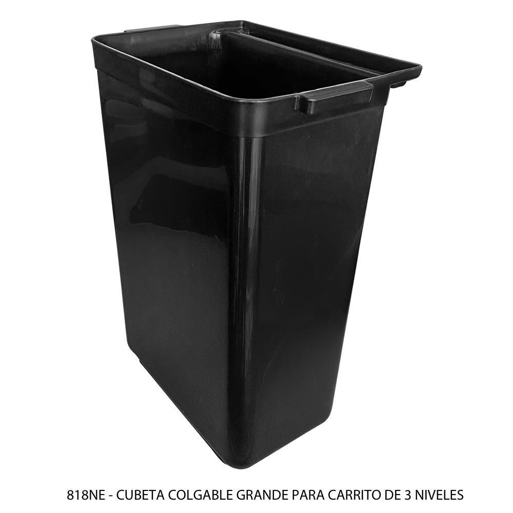 Cubeta colgable grande para carrito de servicio color negro modelo 818NE Sablón