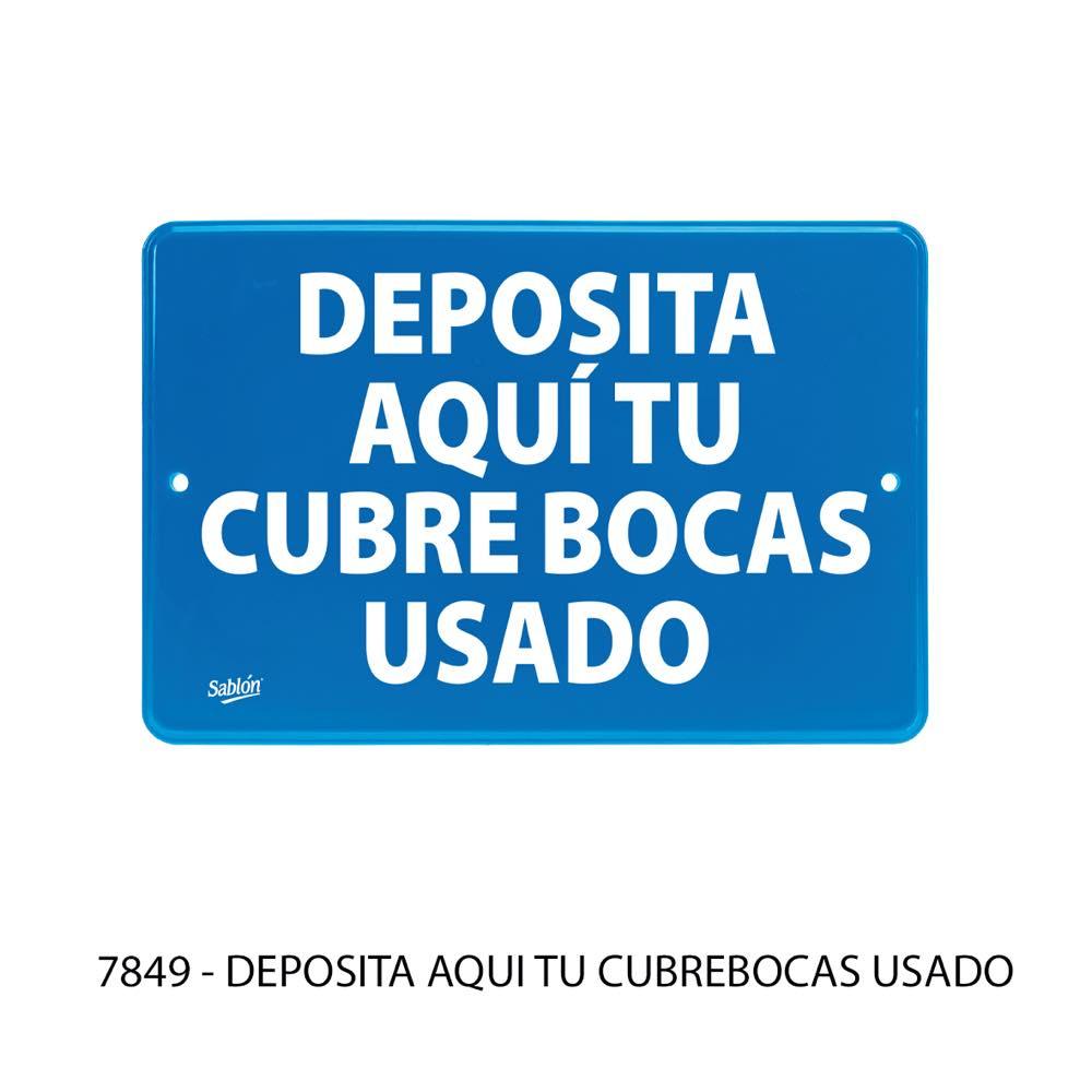 Señal de uso obligatorio Deposita aqui tu cubrebocas usado modelo 7849 Sablón