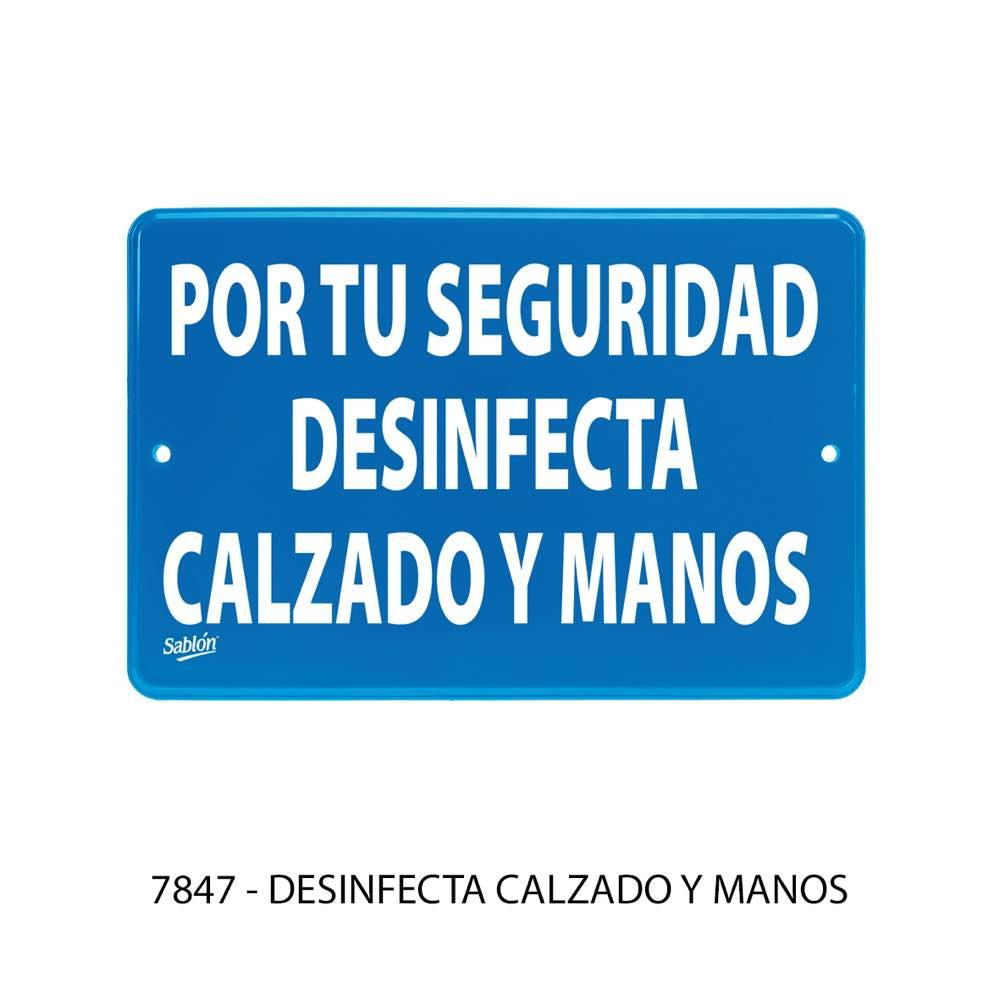 Señal de uso obligatorio Desinfecta calzado y manos modelo 7847 Sablón