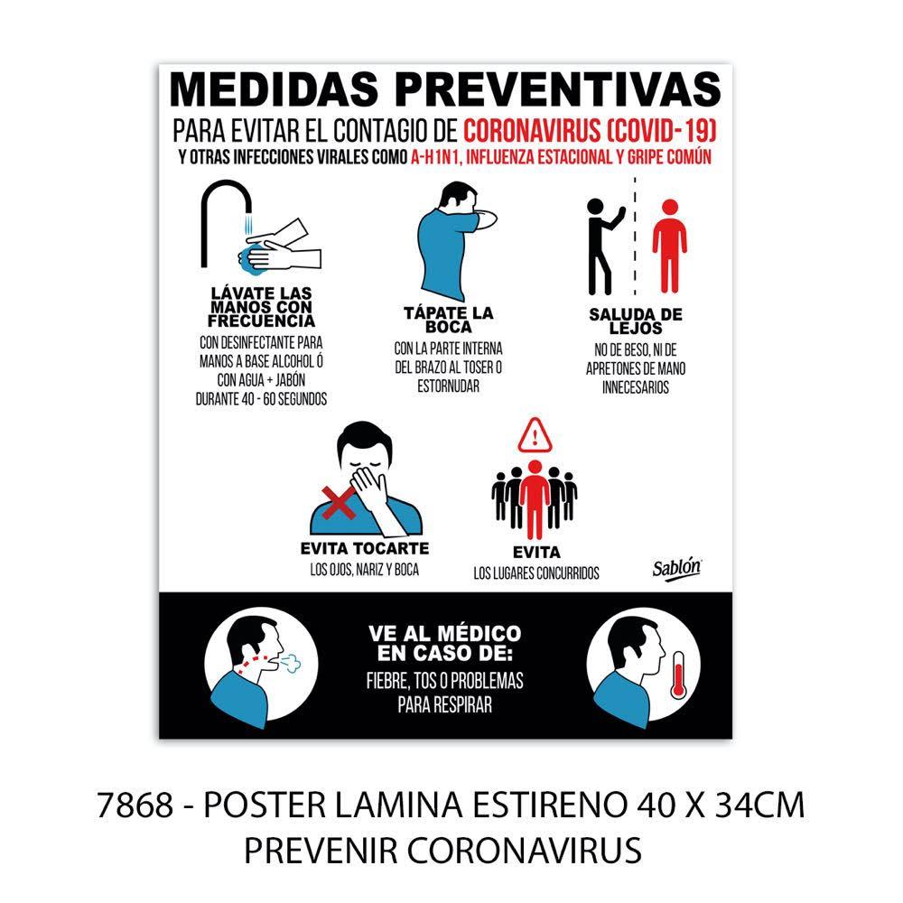 Señal prevenir coronavirus modelo 7868 Sablón