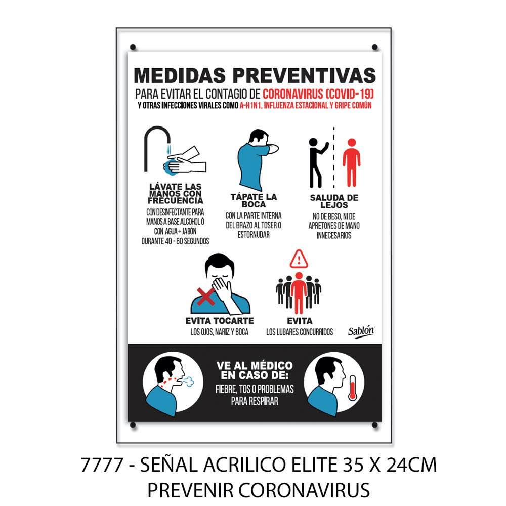Señal prevenir el coronavirus modelo 7777 Sablón