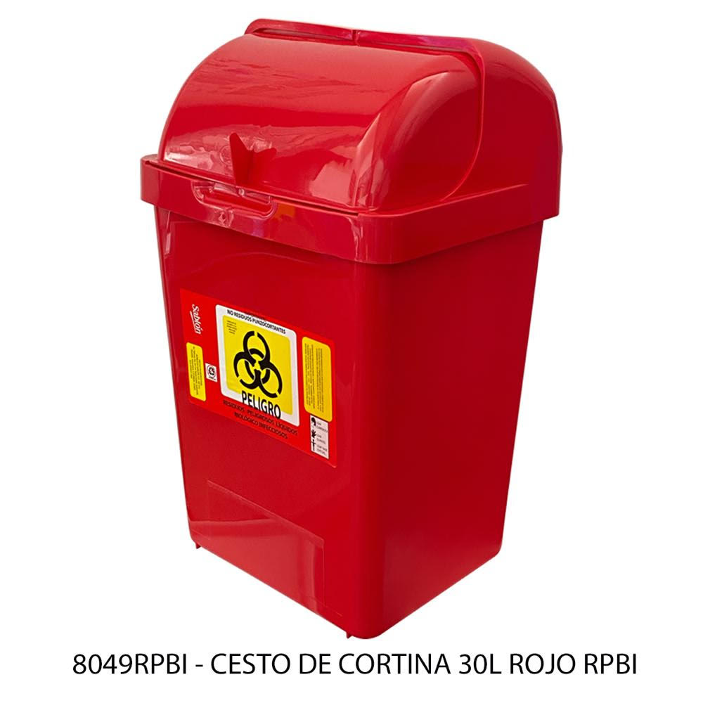 Bote de basura 30 litros color rojo modelo 8049RPBI Sablón