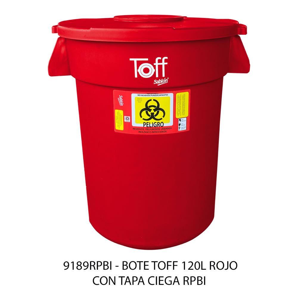 Bote de basura TOFF de 120 litros con tapa ciega color rojo modelo 9189RPBI Sablón