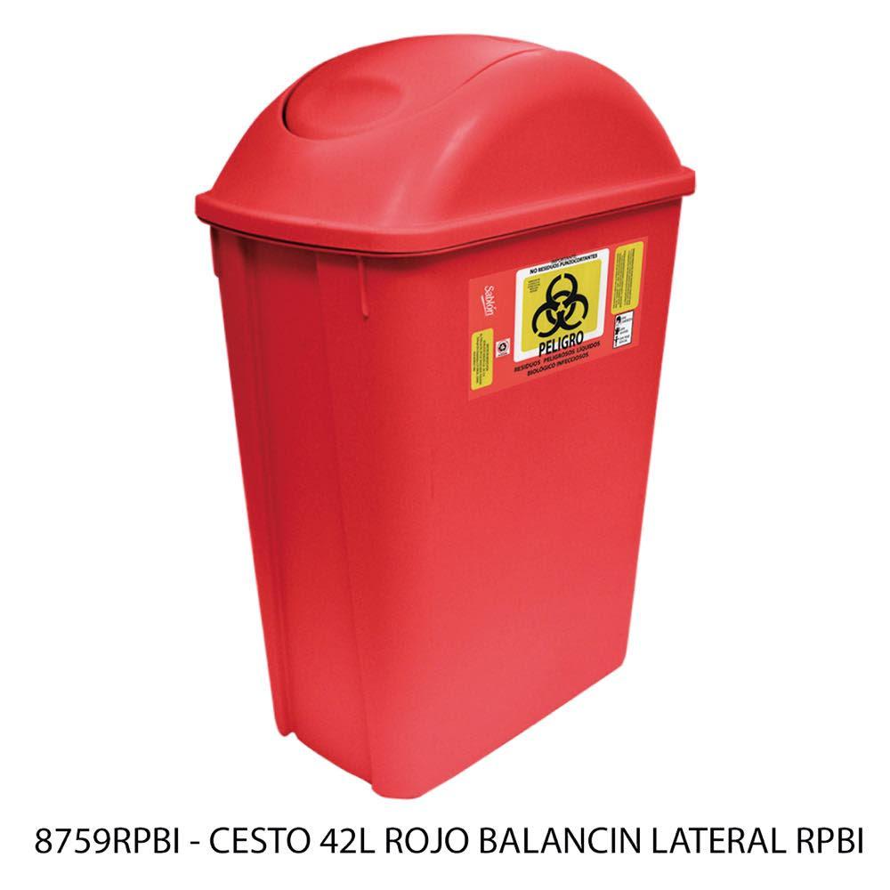 Bote de basura con balancín lateral de 42 litros color rojo modelo 8759RPBI Sablón