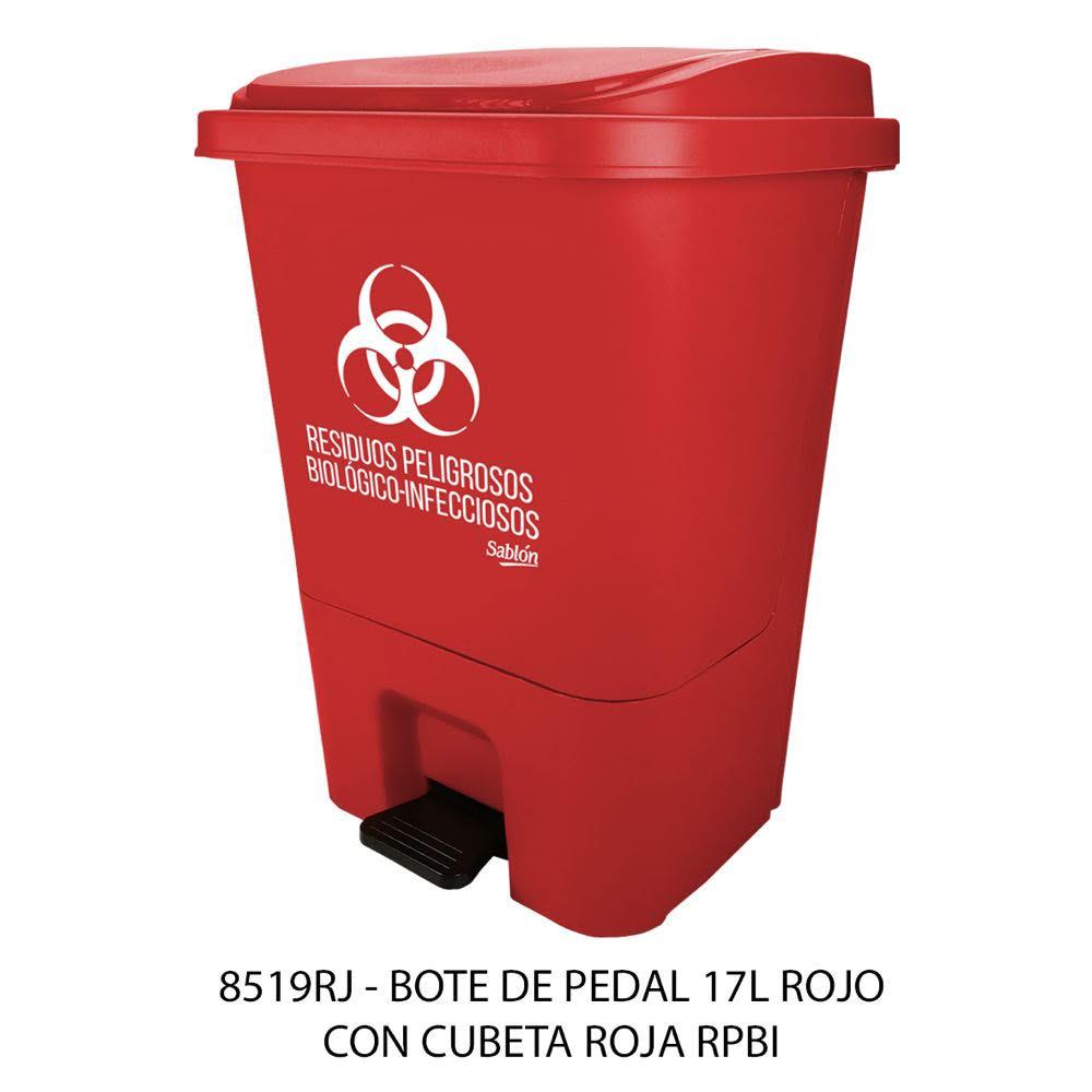 Bote de basura con pedal de 17 litros y con cubeta color rojo modelo 8519RPBI Sablón