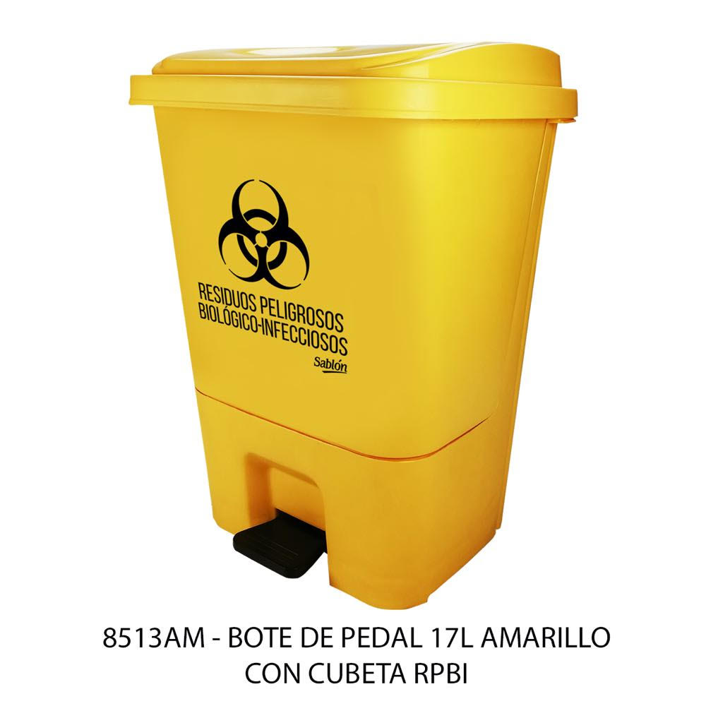 Bote de basura de 17 litros con pedal y con cubeta color amarillo modelo 8513RPBI Sablón
