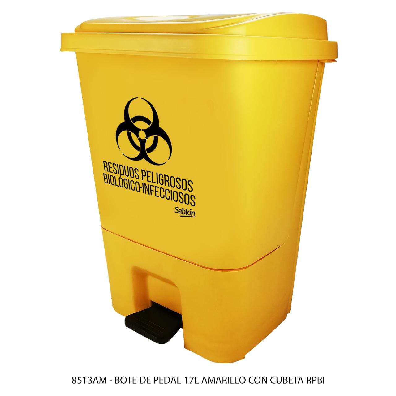 Bote de basura de 17 litros con pedal y con cubeta color amarillo modelo 8513RPBI marca Sablón