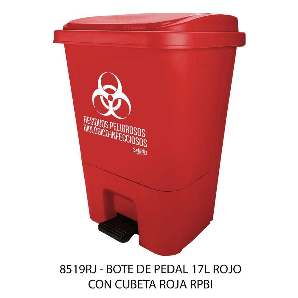 Bote de basura de 17 litros con pedal y con cubeta color rojo modelo 8519RPBI marca Sablón