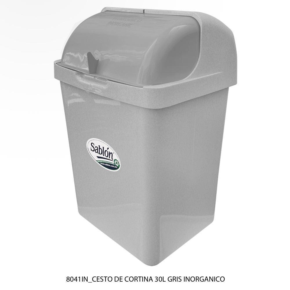 Bote de basura de 30 litros con tapa tipo cortina modelo 8041IN Sablón