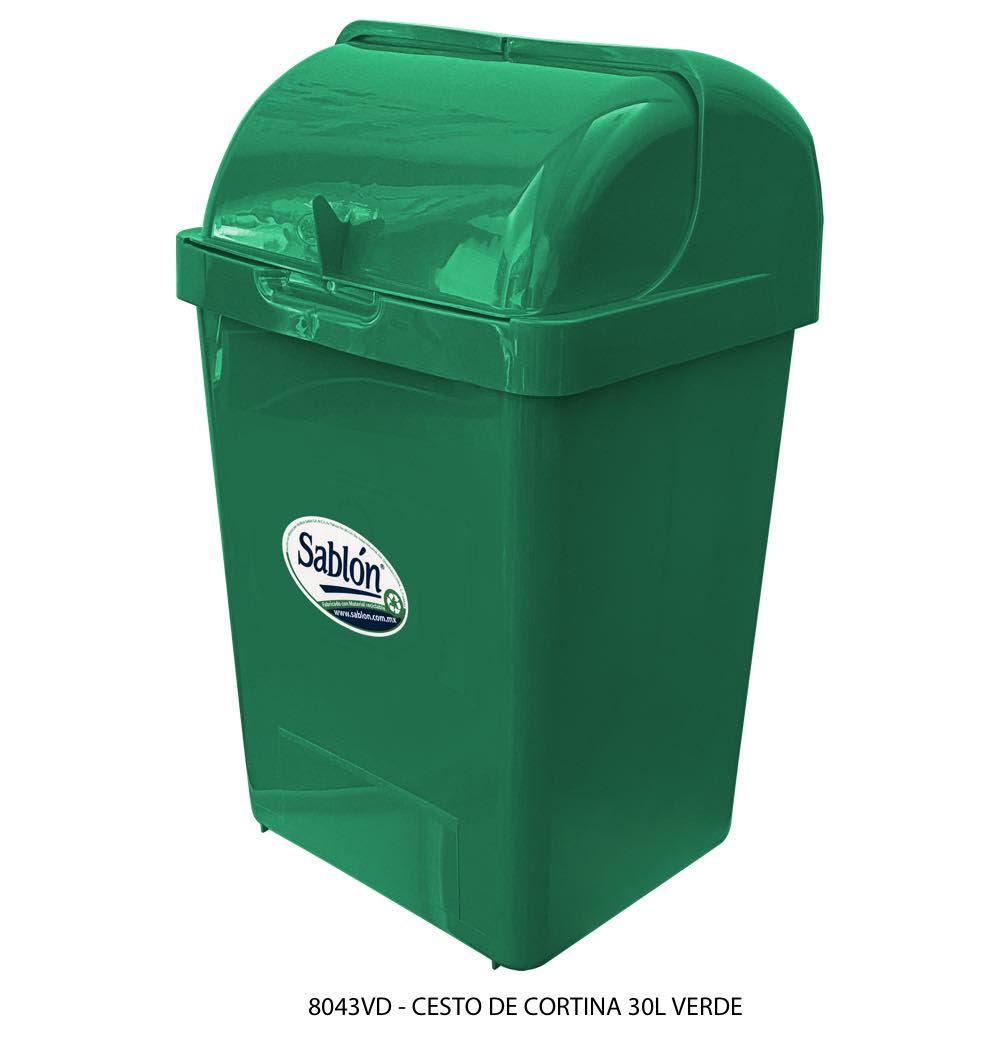 Bote de basura de 30 litros con tapa tipo cortina modelo 8043VD Sablón