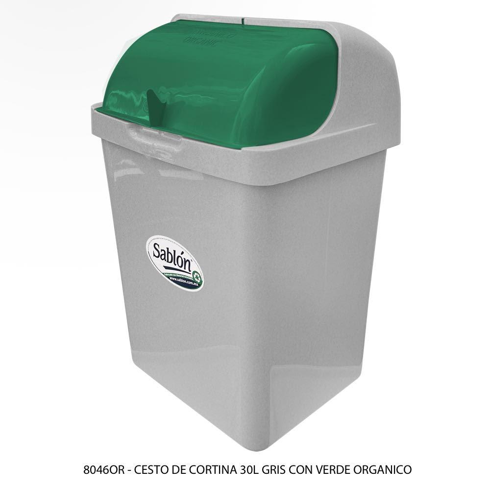 Bote de basura de 30 litros con tapa tipo cortina modelo 8046OR Sablón