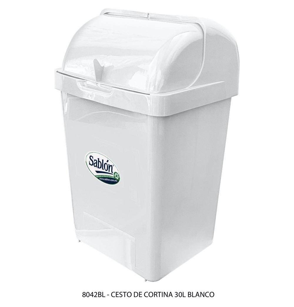 Bote de basura de 30 litros tapa tipo cortina modelo 8042BL Sablón