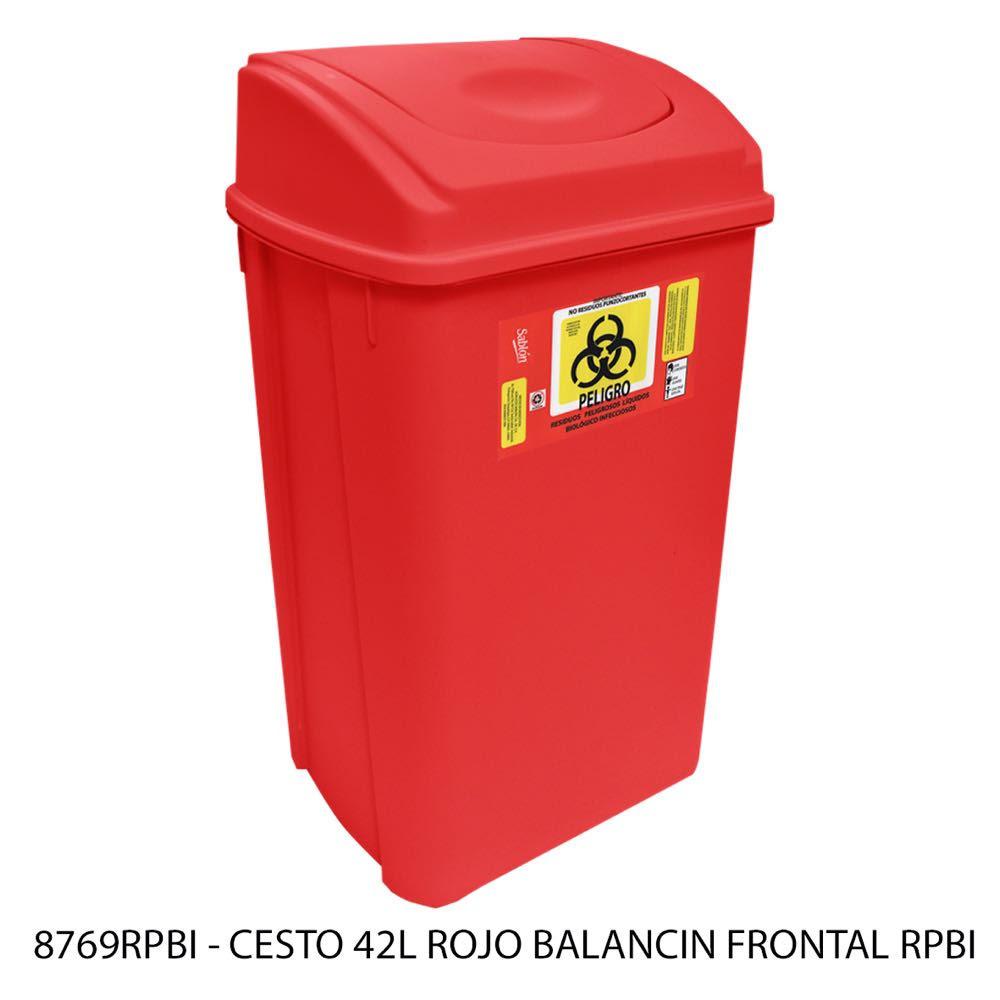 Bote de basura de 42 litros con balancín frontal color rojo mmodelo 8769RPBI Sablón