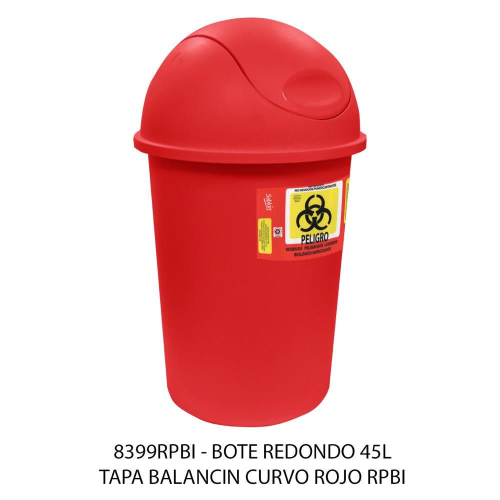 Bote de basura de 45 litros con tapa balancín curvo color rojo modelo 8399RPBI Sablón
