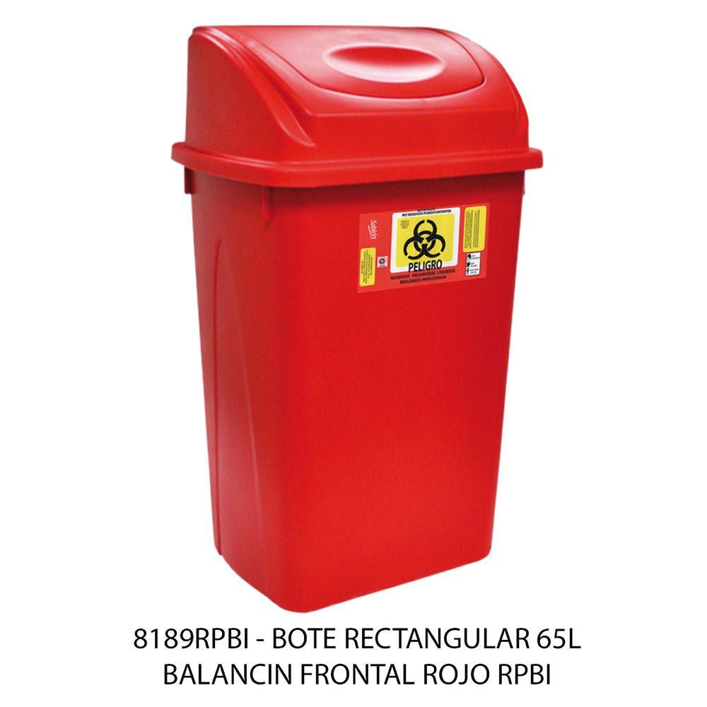 Bote de basura de 65 litros rectangular con balancín frontal color rojo modelo 8189RPBI Sablón