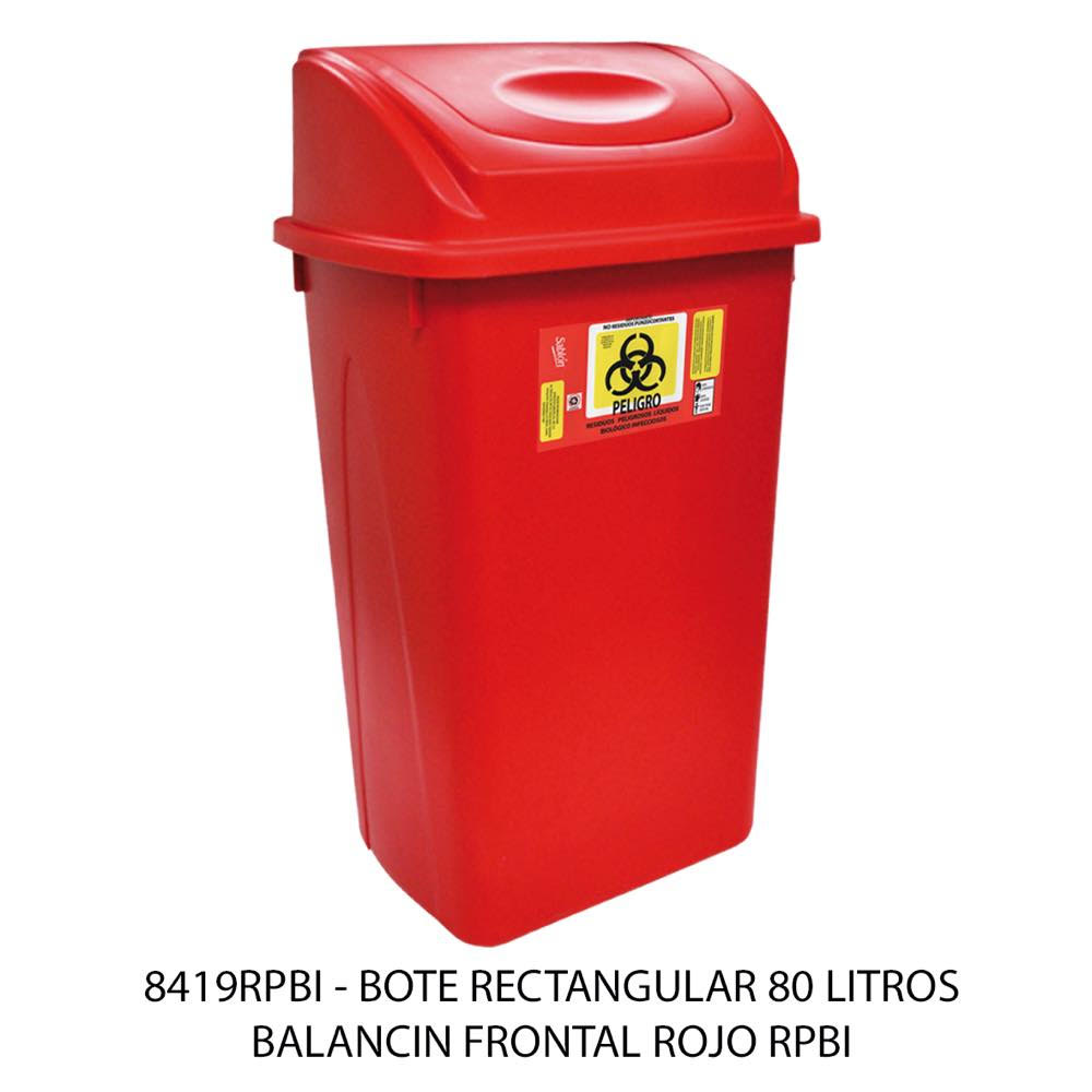 Bote de basura de 80 litros con balancín frontal color rojo modelo 8419RPBI Sablón