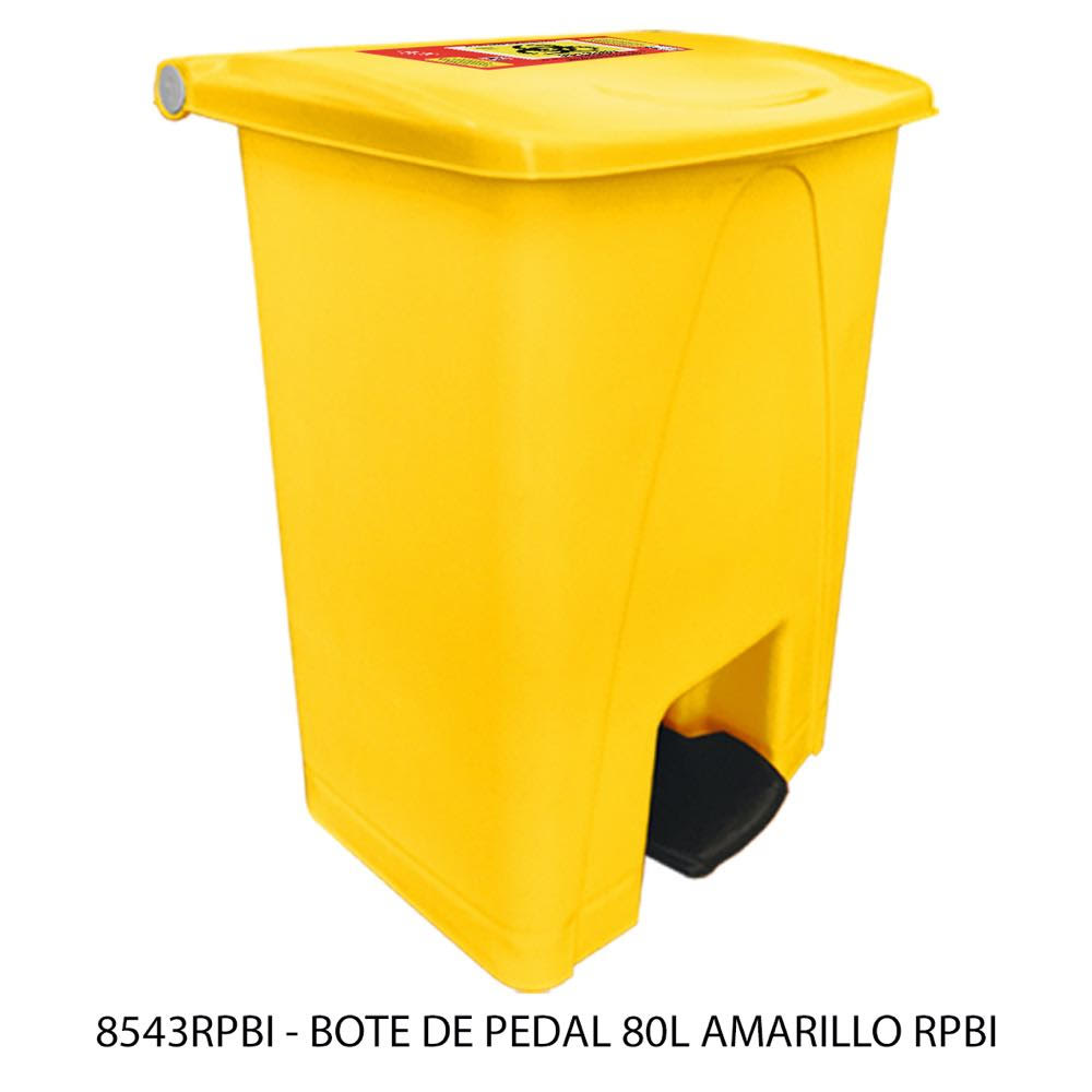 Bote de basura de 80 litros con pedal color amarillo modelo 8543RPBI Sablón