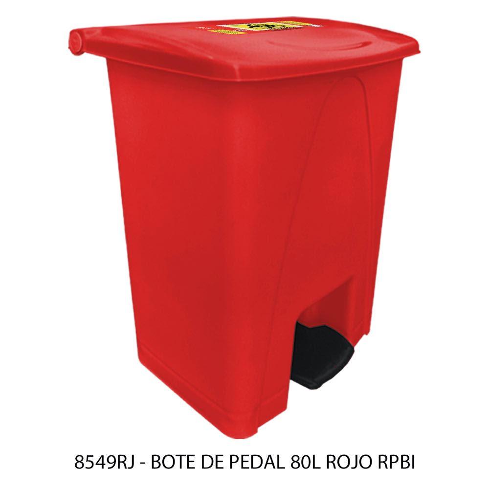 Bote de basura de 80 litros con pedal color rojo modelo 8549RJ RPBI Sablón