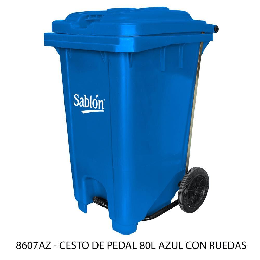 Bote de basura de 80 litros con pedal y con ruedas color azul modelo 8607AZ Sablón