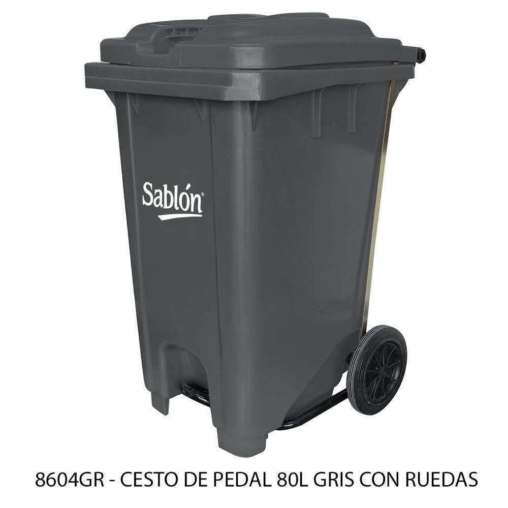 Bote de basura de 80 litros con pedal y con ruedas color gris modelo 8604GR Sablón