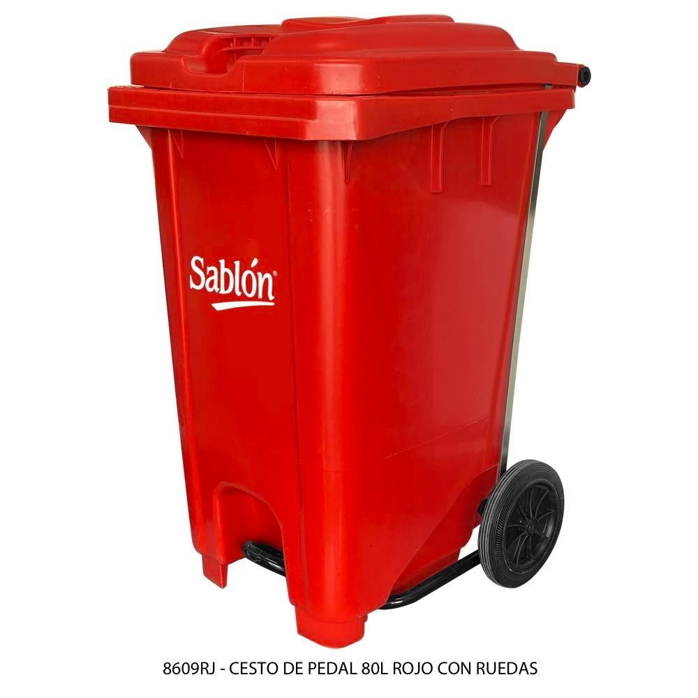 Bote de basura de 80 litros con pedal y con ruedas color rojo modelo 8609RJ Sablón