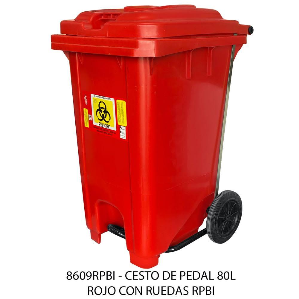 Bote de basura de 80 litros con pedal y con ruedas color rojo modelo 8609RPBI Sablón
