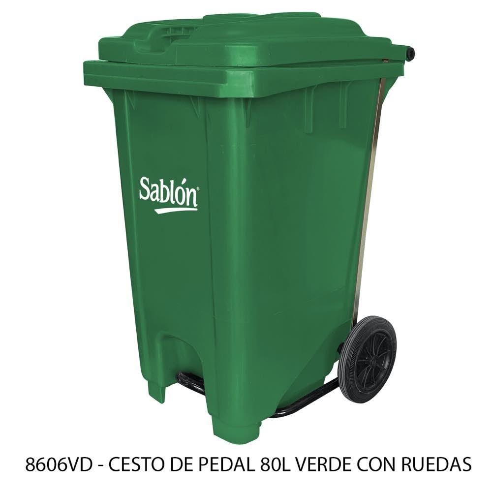 Bote de basura de 80 litros con pedal y con ruedas color verde modelo 8606VD Sablón
