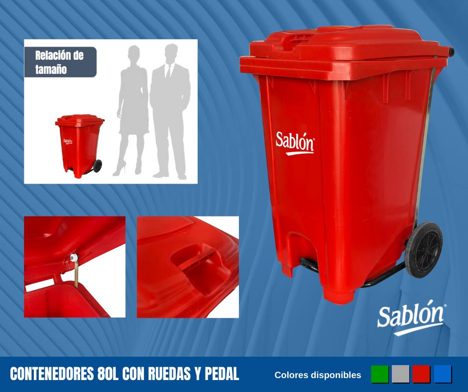 Bote de basura de 80 litros con ruedas y pedal Sablón