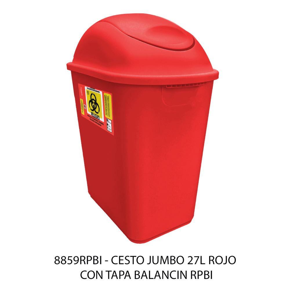 Bote de basura jumbo de 27 litros con balancín frontal color rojo modelo 8859RPBI Sablón