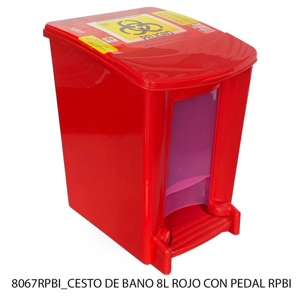 Bote de basura para baño de 8 litros color rojo con pedal modelo 8067RPBI Sablón