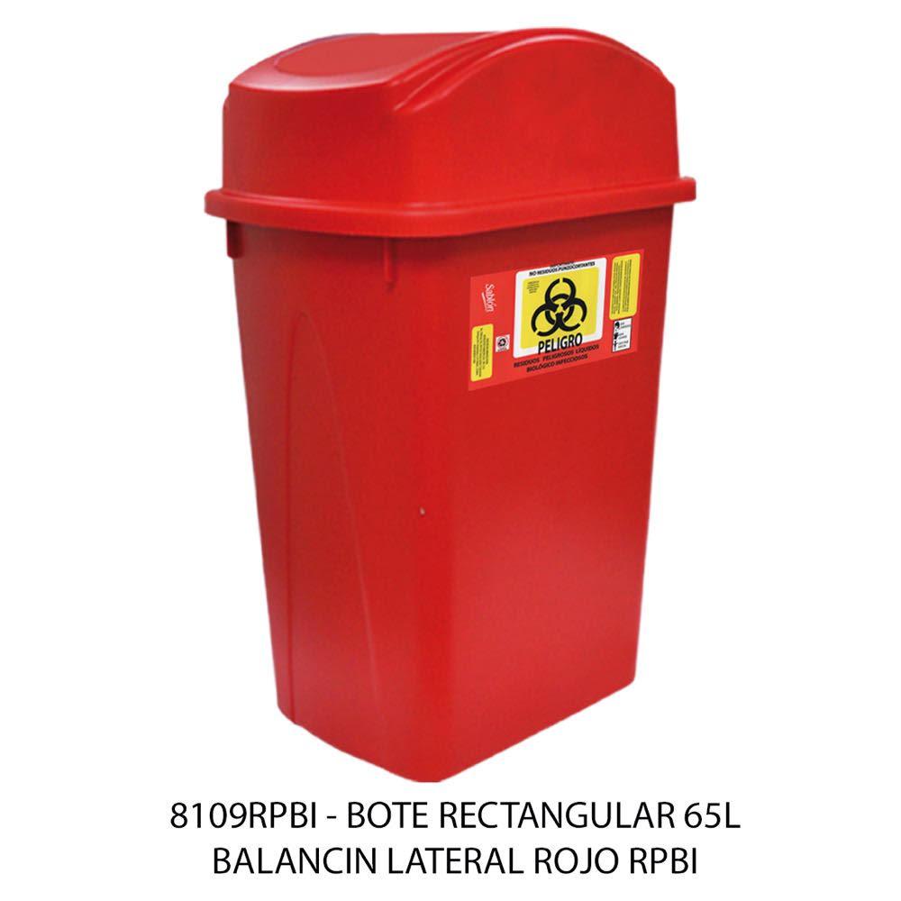Bote de basura rectangular de 65 litros con balancín lateral color rojo modelo 8109RPBI Sablón
