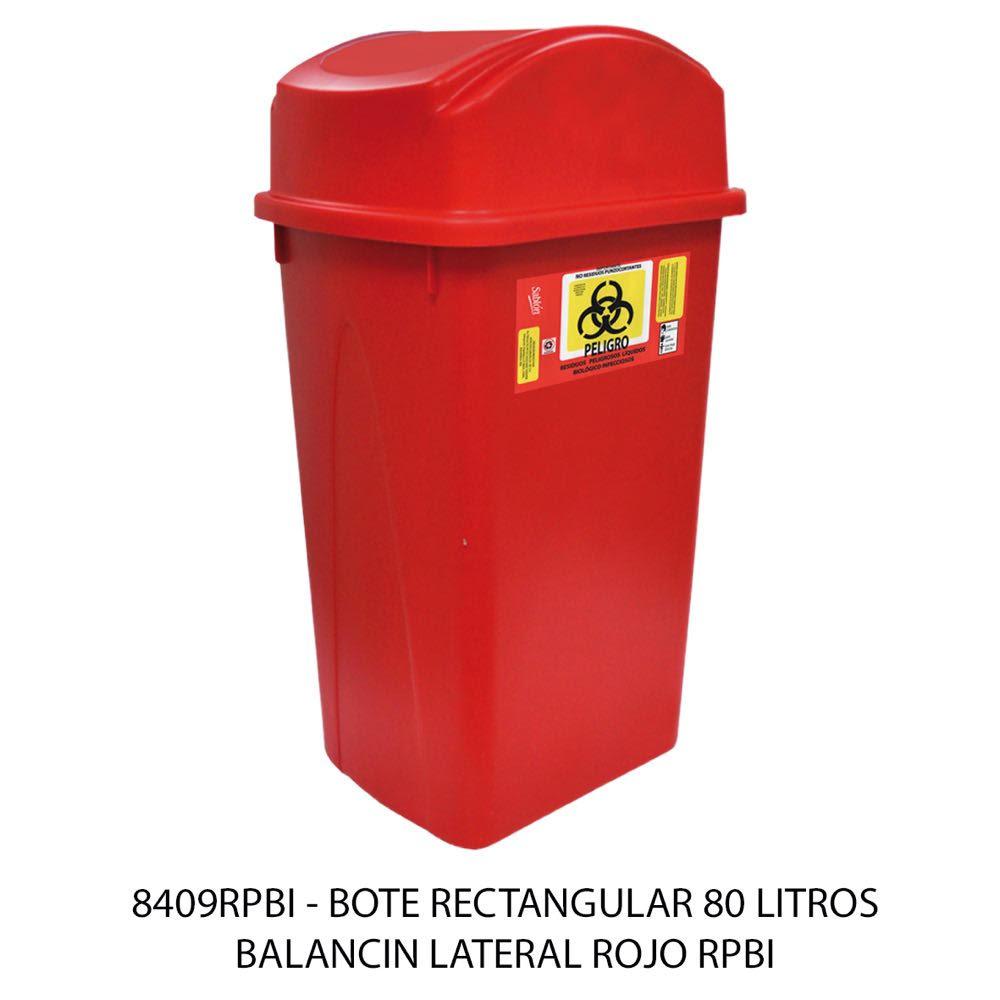Bote de basura rectangular de 80 litros con balancín lateral color rojo modelo 8409RPBI Sablón