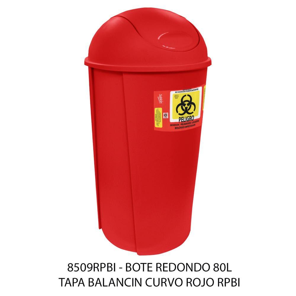 Bote de basura redondo de 80 litros con tapa balancín curvo color rojo modelo 8509RPBI Sablón