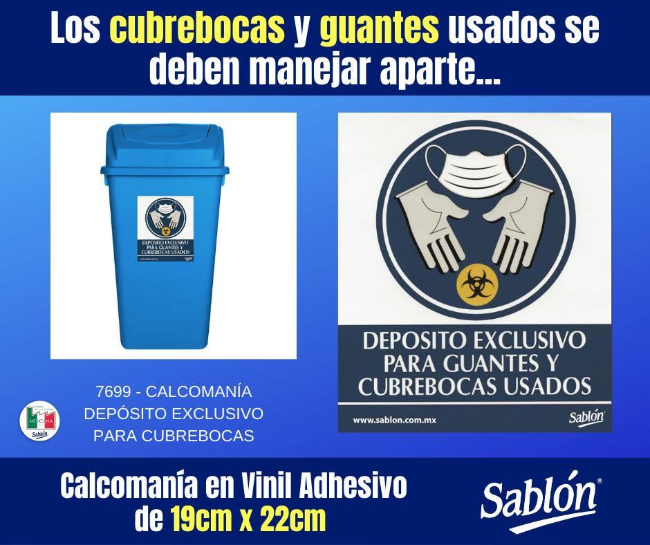 Señal Calcomanía depósito para guantes y cubrebocas usados Sablón