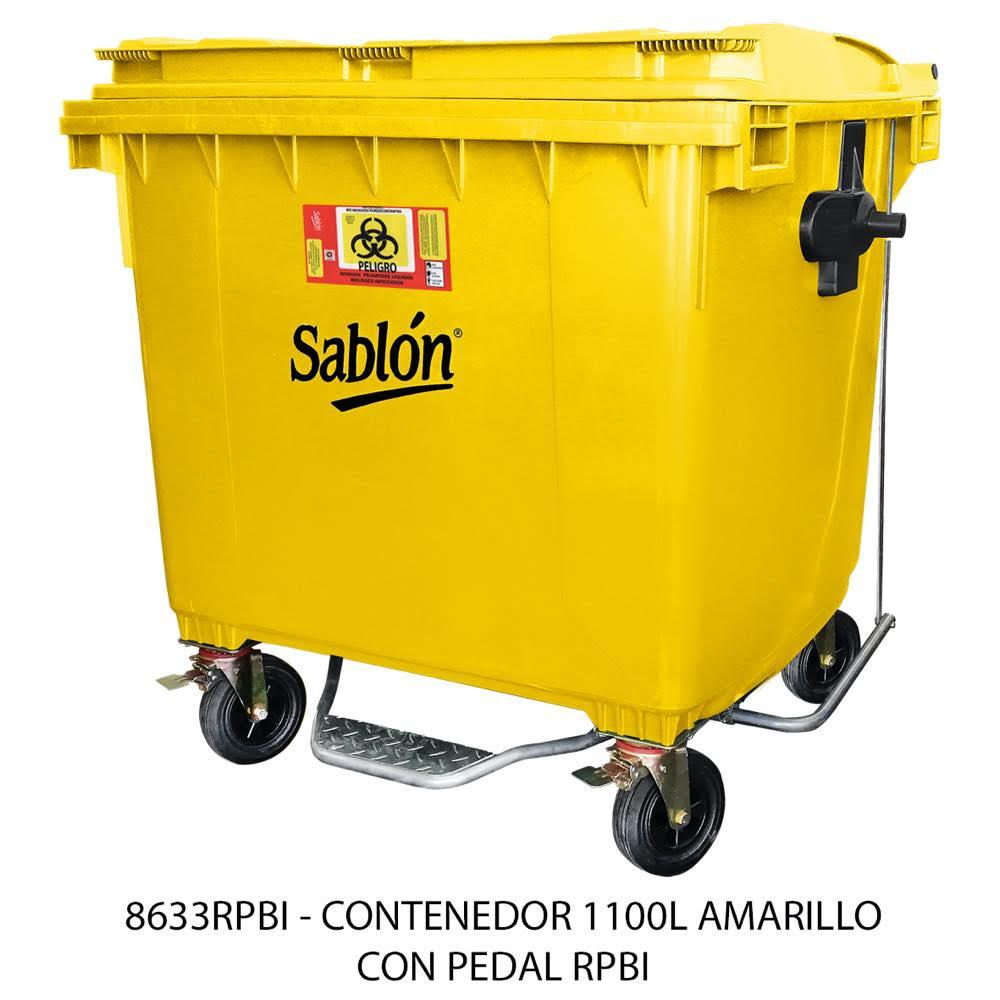 Contenedor de basura de 1100 litros con pedal color amarillo modelo 8633RPBI Sablón
