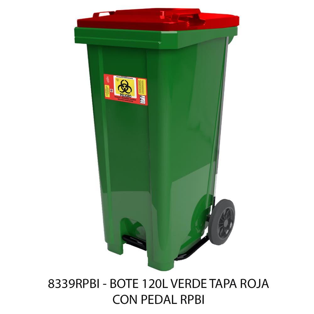 Contenedor de basura de 120 litros color verde con tapa roja con pedal modelo 8339RPBI Sablón
