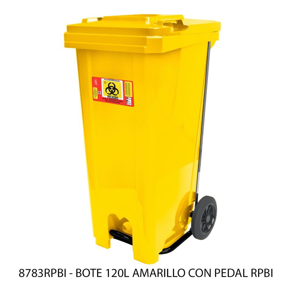 Contenedor de basura de 120 litros con pedal amarillo modelo 8783RPBI Sablón