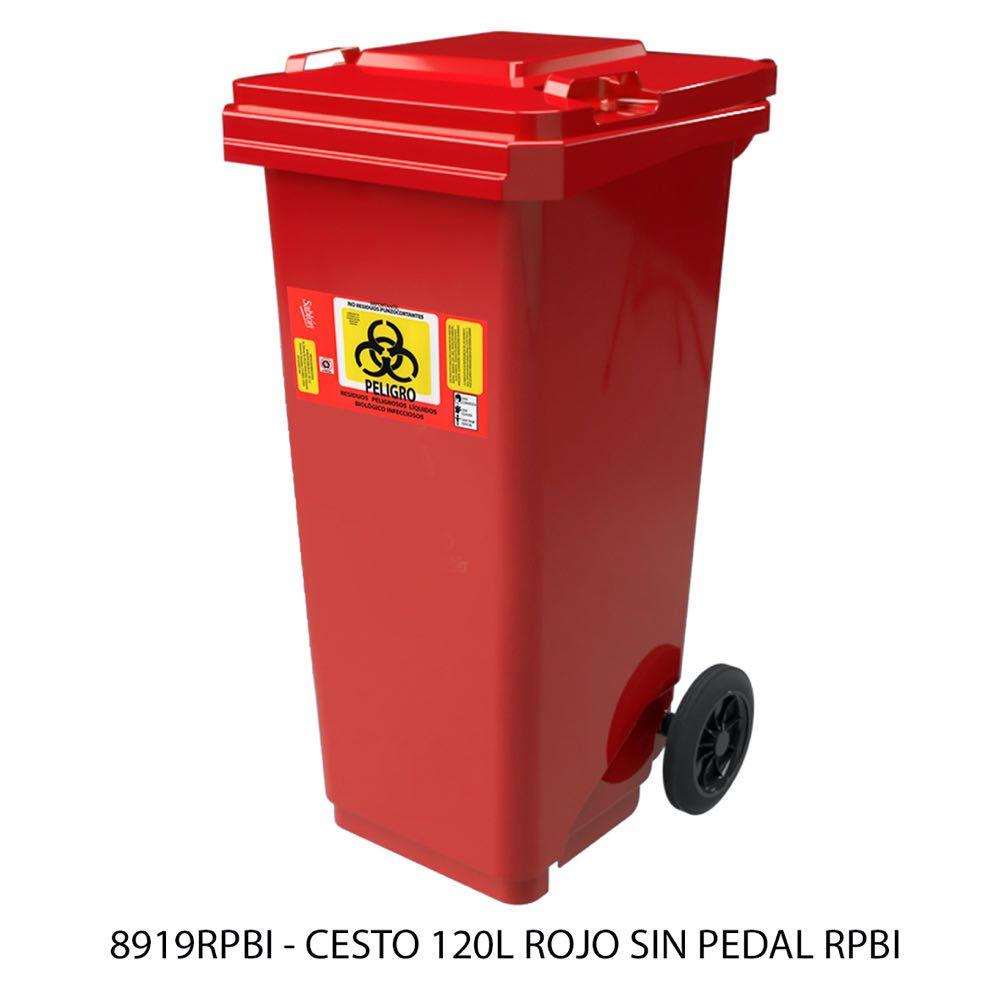 Contenedor de basura de 120 litros sin pedal color rojo modelo 8919RPBI Sablón