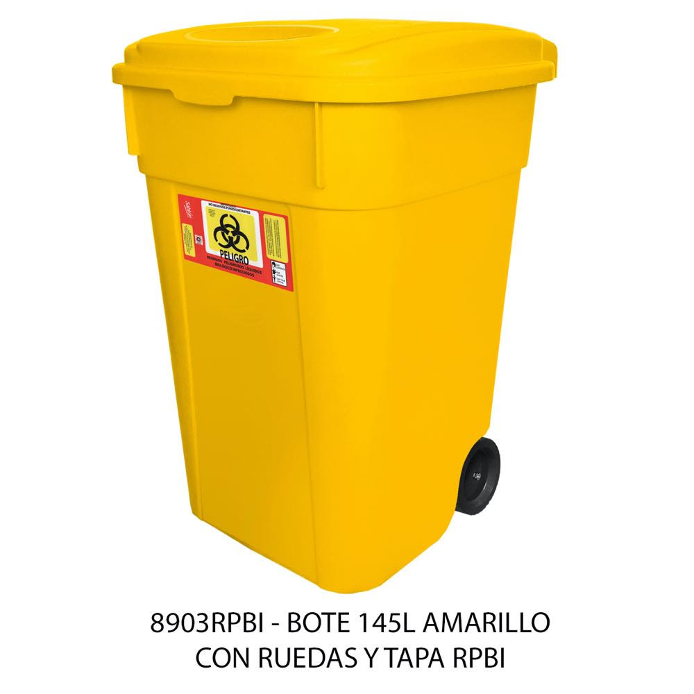 Contenedor de basura de 145 litros con ruedas y tapa color amarillo modelo 8903RPBI Sablón