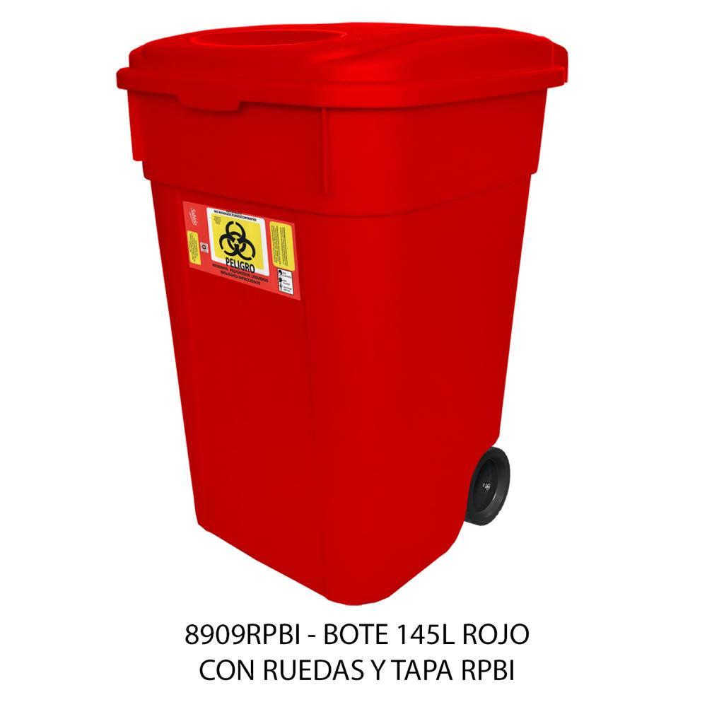 Contenedor de basura de 145 litros con ruedas y tapa color rojo modelo 8909RPBI Sablón